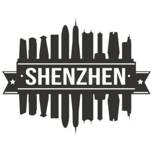 shenzhen china asia icon vector art design skyline flat city silhouette editable template emblematic elements building 105233850